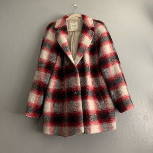 Madewell Cocoon plaid oversized pea coat sz xl